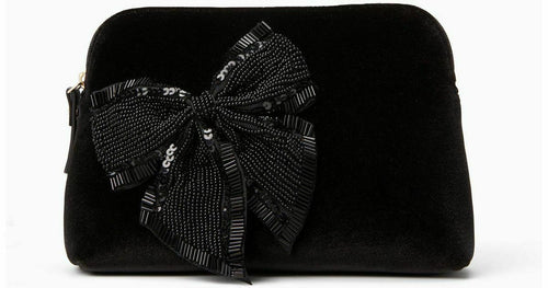 Kate Cameron Street Velvet Bow Small Beaded Briley Cosmetic Travel Bag, Black - Luxe Fashion Finds