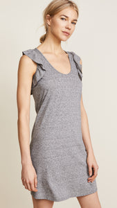 Current/Elliott Women's Cadence Scoop Neck Ruffle Jersey Mini Gray Dress - L (3) - Luxe Fashion Finds