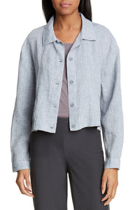 Eileen Fisher Women's Organic Linen Crop Chambray Blue Blazer Jacket - Large