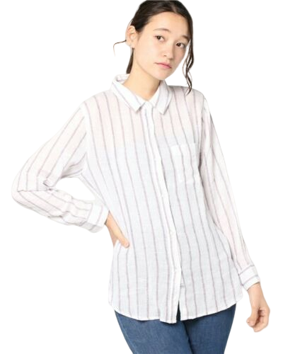 Rails Women's Charli Linen Striped Button Down Long Sleeve White Shirt Top - L. - Luxe Fashion Finds
