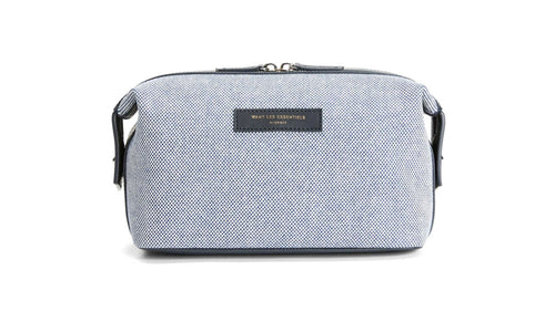 Want Les Essentiels Men's Kenyatta Organic Canvas/Leather Dopp Toiletry Bag, Checker