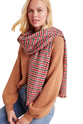 Anthropologie Women's Archer Red Plaid Check Fringed Oblong Wrap Scarf