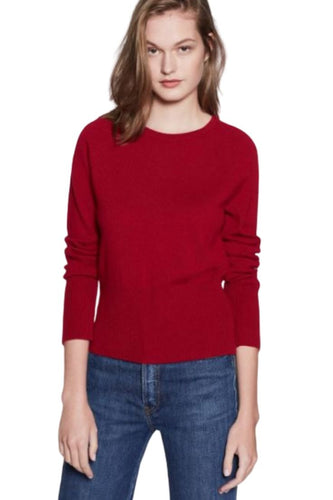 Equipment Women's Coren Cashmere Crewneck High Rib Crop Red Sweater – Medium - Luxe Fashion Finds