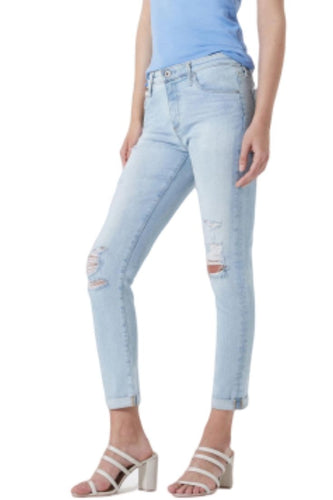 AG Goldschmied Women's Prima Roll-up Crop Distressed Slim Faded Jean Secret Cove. - Luxe Fashion Finds