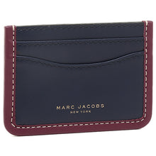 Load image into Gallery viewer, Marc Jacobs Women's Leather Slim Credit Card Case Wallet, Blue/Red - Luxe Fashion Finds