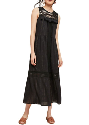 Anthropologie Women's Crochet Sleeveless Tassel Black Gold Cotton Maxi Dress - Luxe Fashion Finds