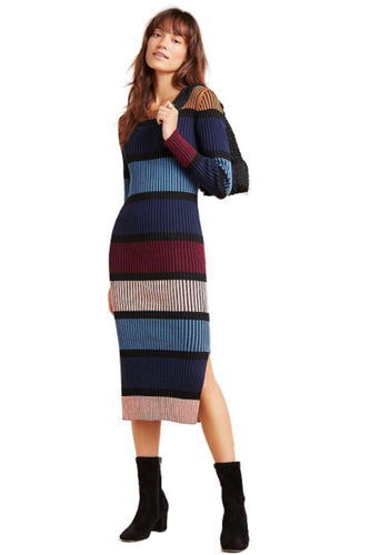 Anthropologie Women's Dolan Colorblock Midi Rib-Knit Blue Sweater Dress – Large