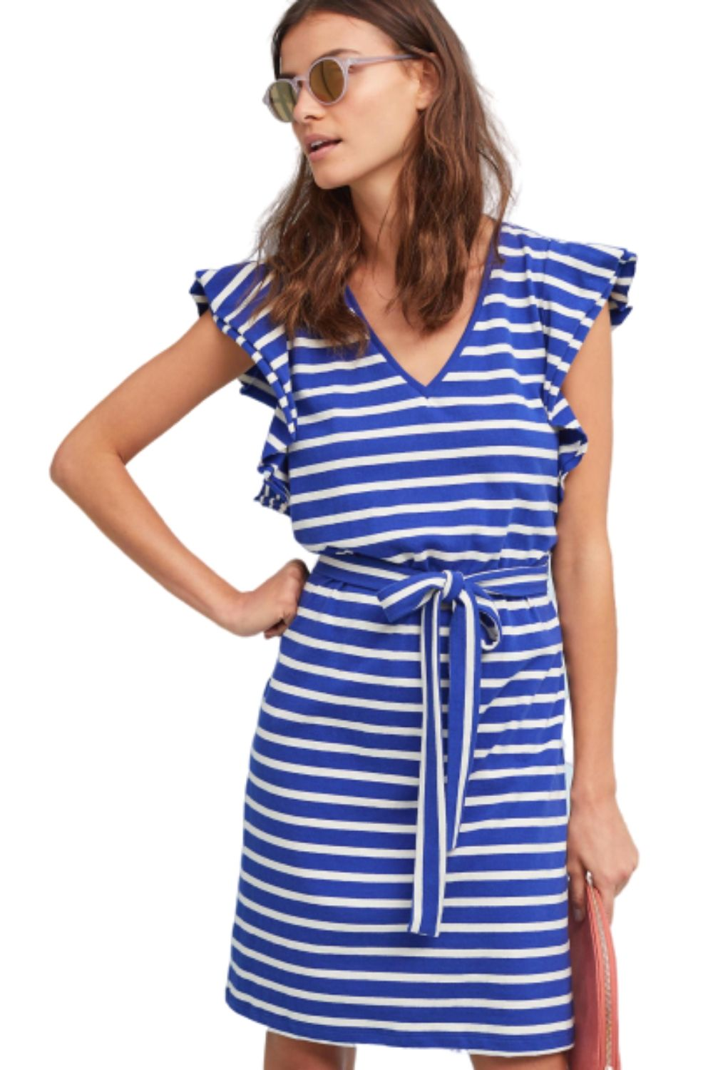 Anthropologie Women's Dolan Flutter-Sleeve Blue Cotton Striped Belted Dress - XL - Luxe Fashion Finds