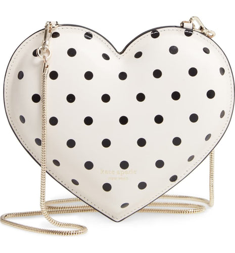 Kate Spade Heart Cabana Dot White Leather Chain Women's Crossbody Bag