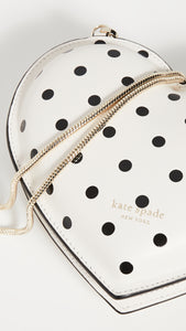 Kate Spade Women's Cabana Dot Heart White Leather Chain Crossbody Bag