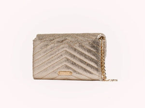 Rebecca Minkoff Edie Quilted Leather Wallet on Chain Crossbody Bag, Champagne