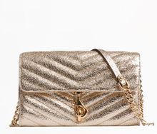 Load image into Gallery viewer, Rebecca Minkoff Edie Quilted Leather Wallet on Chain Crossbody Bag, Champagne