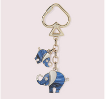 Load image into Gallery viewer, Kate Spade Tiny Blue Elephants Mom & Baby Keychain Bag Charm Hangtag w Box