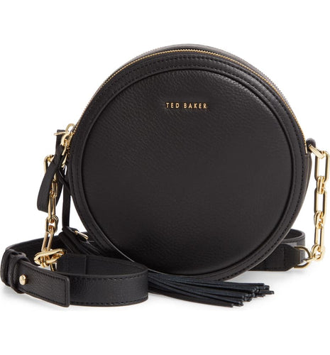 Ted Baker Women's Errinn Circle Black Leather Round Small Crossbody Bag