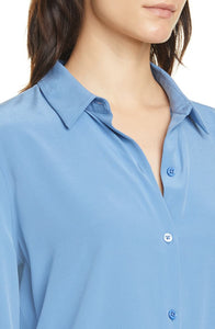 Equipment Women's Essential Silk Button-Up Blue Long Sleeve Shirt, Riverside - Luxe Fashion Finds