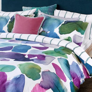 Bluebellgray Esteban Water-Color Floral 3-Piece Cotton Duvet Cover Set, Queen
