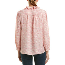 Load image into Gallery viewer, Joie Women's Evangelena Long-Sleeve Ruffle V-Neck Tie Neck Pink Crepe Top - XS