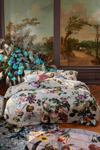 Essenza Dutch Masters Grey Floral 3-Pc Duvet Cotton Sateen Cover Set, King