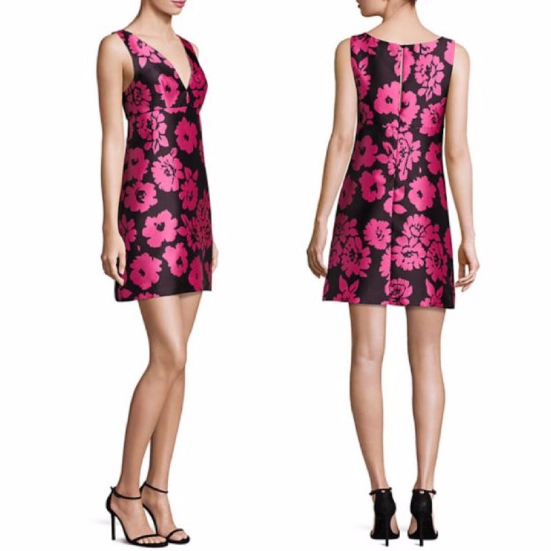 MILLY Women's  V-Neck Sleeveless Pink Floral Short Black Cocktail Dress - 10 - Luxe Fashion Finds