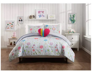 Jessica Simpson Growing Garden Floral Stripe Heart 3-Piece Twin Comforter Set