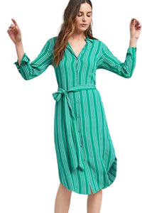 Anthropologie Women's Martina Belted Green White Striped Knee-Length Shirt Dress - Luxe Fashion Finds