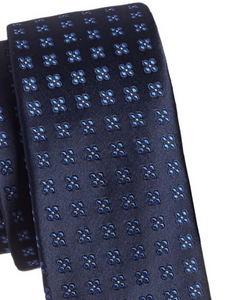 Haight Ashbury Men's Silk Modern Floral Classic Skinny Tie, Blue - Luxe Fashion Finds