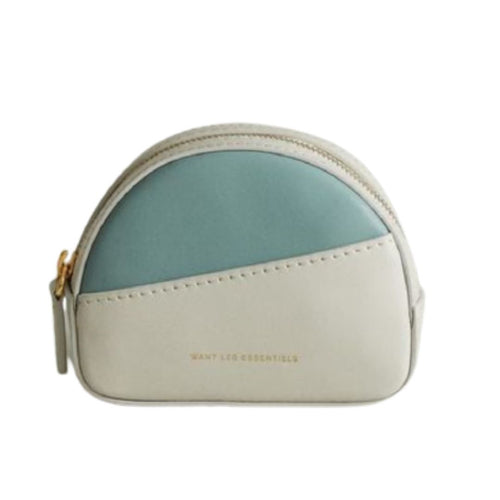 Want Les Essentiels Luka Half Moon Leather Small Pouch Belt Bag, White/Blue