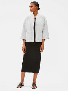 Eileen Fisher Women's Organic Linen & Cotton Striped Open Front White Jacket - L - Luxe Fashion Finds