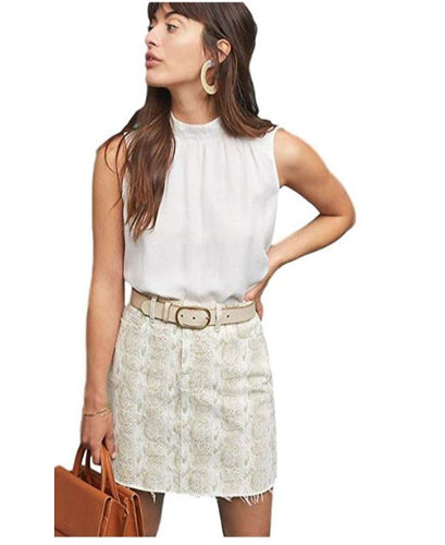 Paige Jamine Mini Skirt, Raw Hem White Denim, Sonoran Snake Print - Luxe Fashion Finds