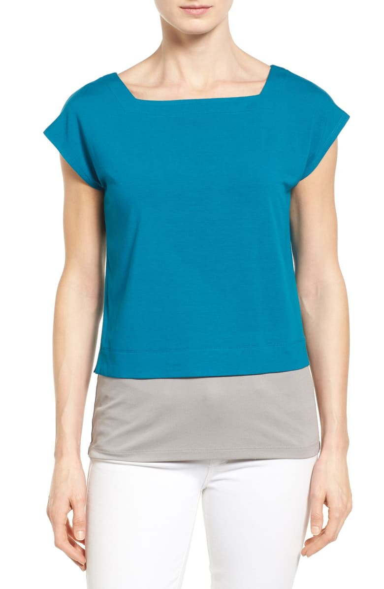 Eileen Fisher Women's Square Neck Crop Layering Blue Tee Top, Jewel – XL