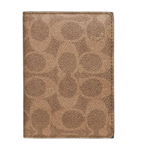 Coach Men's Bifold Signature Canvas Card Case Brown Zip Wallet, 68303