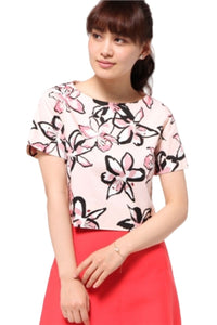 Kate Spade Women's Tiger Lilly Floral Stretch Cotton Short Sleeve Crop Top, Pink – S - Luxe Fashion Finds