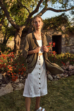 Load image into Gallery viewer, Anthropologie Women's Linen Blend Button Front A-Line Off White Midi Skirt – 12 - Luxe Fashion Finds