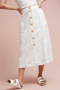 Anthropologie Women's Linen Blend Button Front A-Line Off White Midi Skirt – 12 - Luxe Fashion Finds