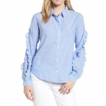 Load image into Gallery viewer, Rails Women's Lizzi Striped Cotton Rayon Ruffle Sleeve Button Front Blue Shirt