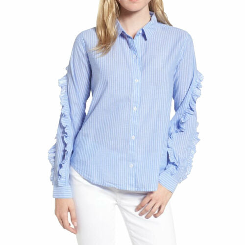 Rails Women's Lizzi Striped Cotton Rayon Ruffle Sleeve Button Front Blue Shirt