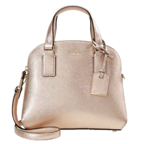 Kate spade Women's Small Lottie Leather Satchel Crossbody Mini Bag, Rose Gold - Luxe Fashion Finds