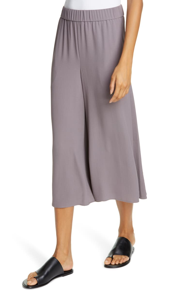 Eileen Fisher Women's Silk Georgette Crepe Wide Leg Cropped Pant, Gray – Large - Luxe Fashion Finds