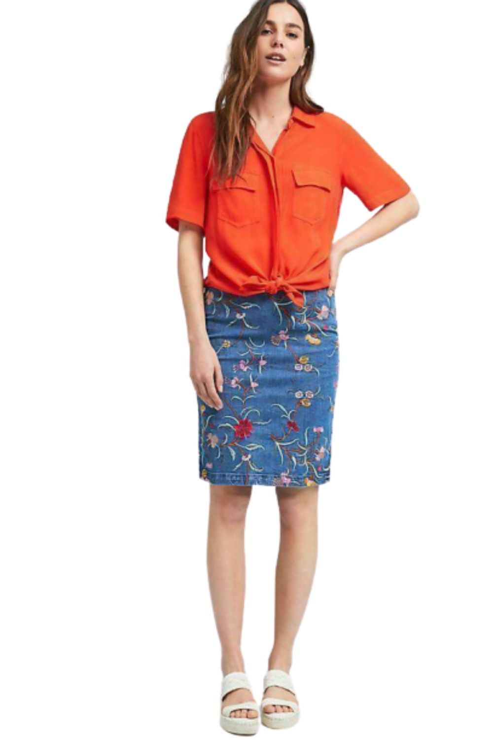 Anthropologie Women's Maeve Floral Embroidered Denim Blue Pencil Skirt - 0