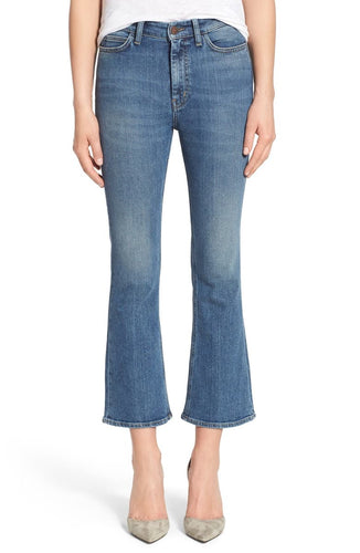 Mih Women's Marty High Rise Cropped Faded Kick Flare Blue Jeans, Joa - 30