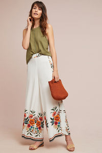 Anthropologie Women's Farm Rio Floral Flared Wide Leg Cropped White Pants - M