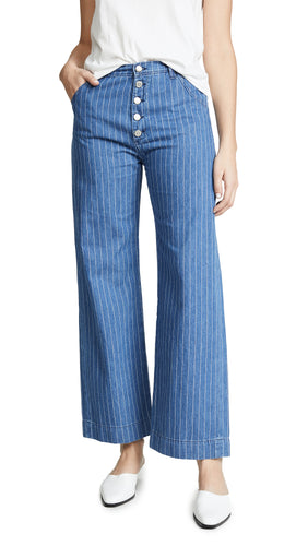 Anthropologie Women's  Mih Paradise High-Rise Straight Button Fly Stripe Jean 26 - Luxe Fashion Finds