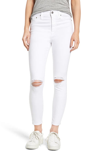 AG Goldschmied Women's Mila Ankle High-Rise Skinny Distressed White Jeans