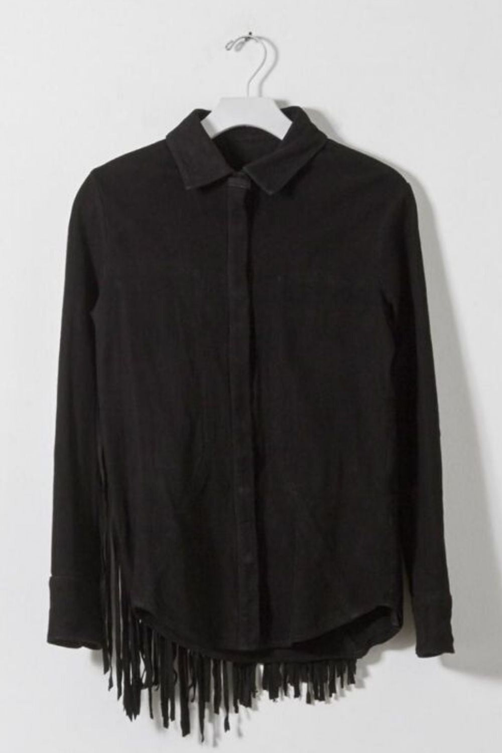 RTA Miles Women's Fringed Suede Leather Snap Front Black Shirt Jacket - Small - Luxe Fashion Finds