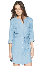 Load image into Gallery viewer, Soft Joie Milli Chambray Long Sleeve Cotton Tencel Belted Blue Shirt Dress - M - Luxe Fashion Finds