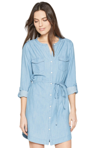 Soft Joie Milli Chambray Long Sleeve Cotton Tencel Belted Blue Shirt Dress - M - Luxe Fashion Finds