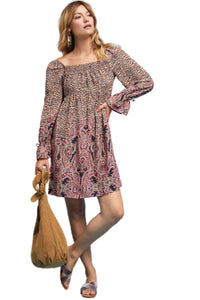 Anthropologie Women's Empire Waist Paisley Print Boho Tunic Mini Dress - Small - Luxe Fashion Finds