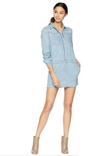 Juicy Couture Women's Chambray Embroidered Denim Mini Shirt Dress - Small