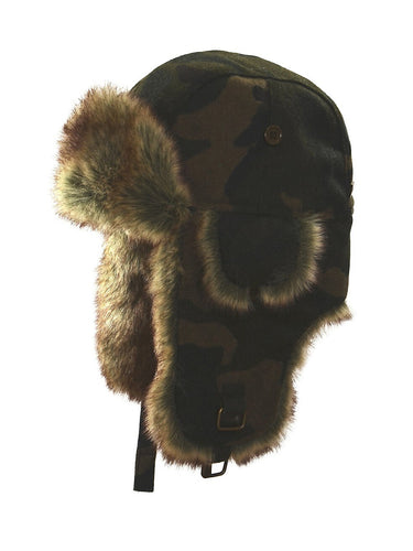 Nathaniel Cole Men's Faux Fur-Trim Wool Blend Camo Aviator Hat - L/XL