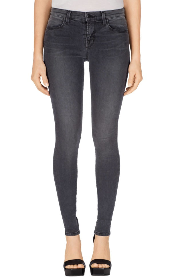 J Brand Women's Maria High Rise Skinny Grey Stretch Jeans, Nightbird  - Luxe Fashion Finds